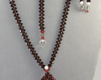 Swarovski necklace, burgundy jewelry set, beaded jewelry