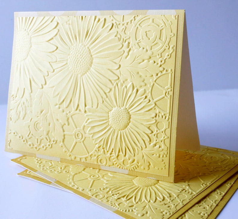 stationery embossed boxcards set 3 blank yellow cards set note cards for her