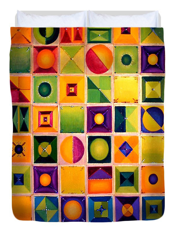 Farmland Quilt - Contempory Queen Duvet par l'artiste Anni Adkins