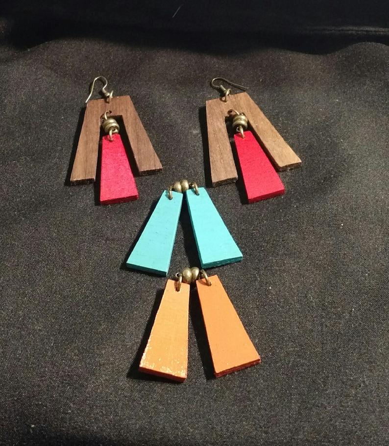 3 in 1 comfortable earrings- mPER413 and red wooden earrings blue handpainted everyday homemade festival earrings Interchangeable orange