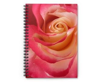 Rose Journal Notebook Spiral Bound - Valentine's Day Gift Ruled Line - Hard back A5