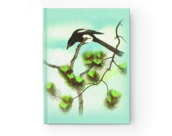 Bird Journal Magpie Notebook - Ruled Line Blank Journal - Ruled Notebook - Hardcover Journal