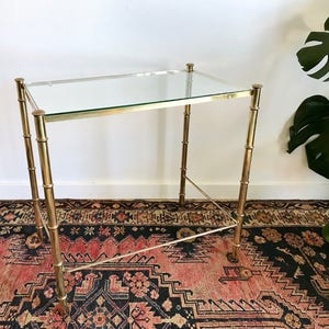 Gold Faux Bamboo Side Table   Rectangular Gold Gilt Bamboo Side Table +  Glass Top   Bamboo Bedside Nightstand   Gold End Table + Glass Top