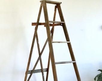 Antique Painter's Ladder - 5 Rung Wooden Rustic Stepping Ladder - Solid Wood 6' Climbing Ladder - Farmhouse Wood Folding Decorative Ladder