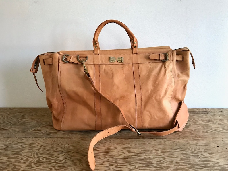 5f39074b933c XL Brown Leather Duffle Bag - Genuine Leather Weekender Bag - Oversized  Tote - Leather Shoulder Bomber Bag - Caramel Leather Travel Duffel