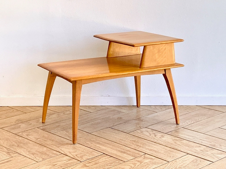 Mid Century Modern Heywood Wakefield Table   MCM Rectangular Solid Maple  Wood Accent Table   Solid Wood Bedside Table