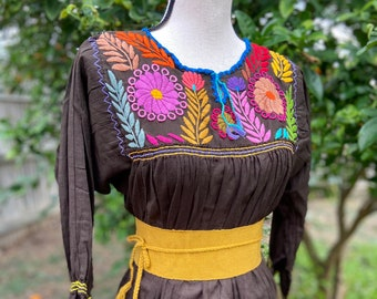 Gorgeous Brown Gauze Tunic/Blouse w/Gorgeous Embroidered Flower designs, All Hand Embroidered