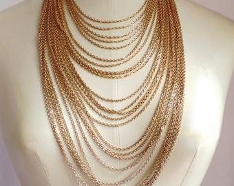 Vintage 1970's Multi Chain Necklace, Conversation Piece