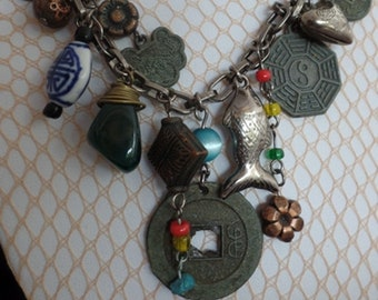 Vintage 1970's Charms Amulet Necklace-