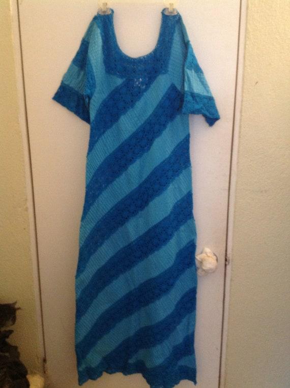 1970's Turquoise Mexican Crochet Dress Midi