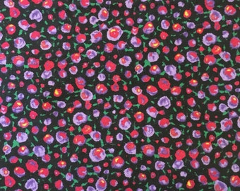 Floral Navy and Purple Poppy Fabric Cotton 1 yard