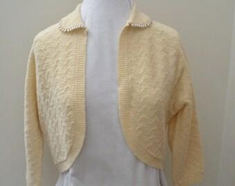 Vintage Ivory Wool Bolero Sweater with Pearl Collar - Lass O Scotland