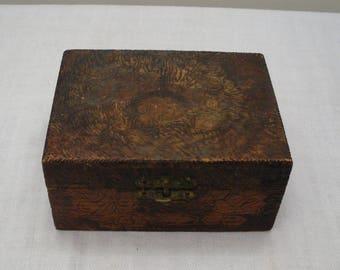 Vintage Pyrography Floral Box - Wood Burned Rose Box