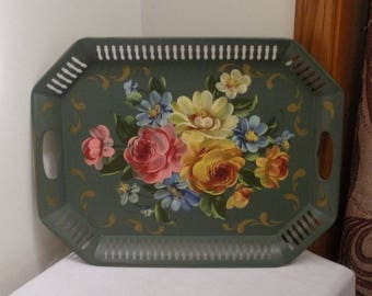Vintage Green Tole Painted Serving Tray - Hand Painted Flowers