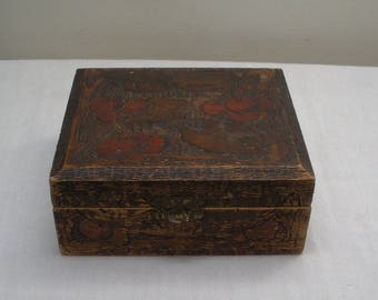 Vintage Wood Pyrography Box with Cherry Design