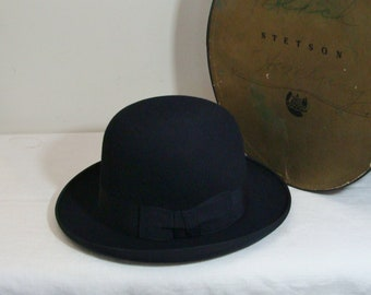 648b97aa237 Vintage Black Stetson Derby Bowler Hat with Original Stetson Hat Box