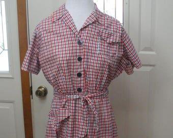 Vintage Princess Peggy Red White Blue Dress- Cotton Day Dress