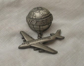 Vintage Jet Set Brooch with Airplane