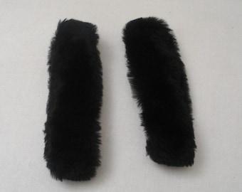 Vintage Black Rabbit Fur Coat Cuffs