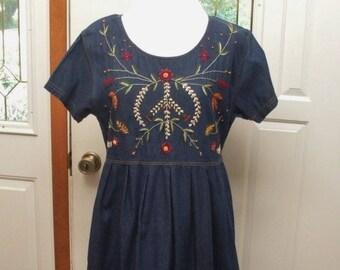 Vintage Jane Ashley Denim Dress with Crewel Embroidery