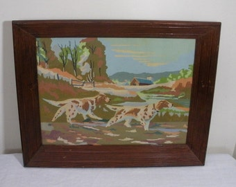 Vintage Framed Spaniel Hunting Dogs Paint by Number