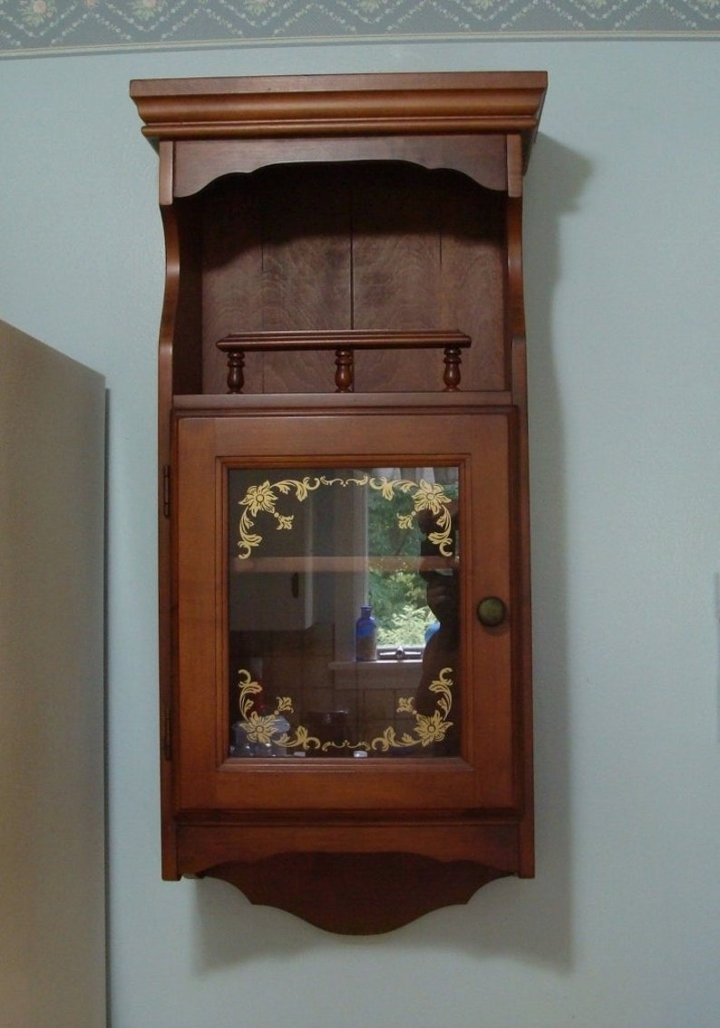 Vintage Maple Wall Cabinet With Glass Door   Vilas Furniture Co. Canada