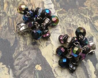 SALE - Aurora Borealis Bead Rhinestone Earrings - Vintage Clip