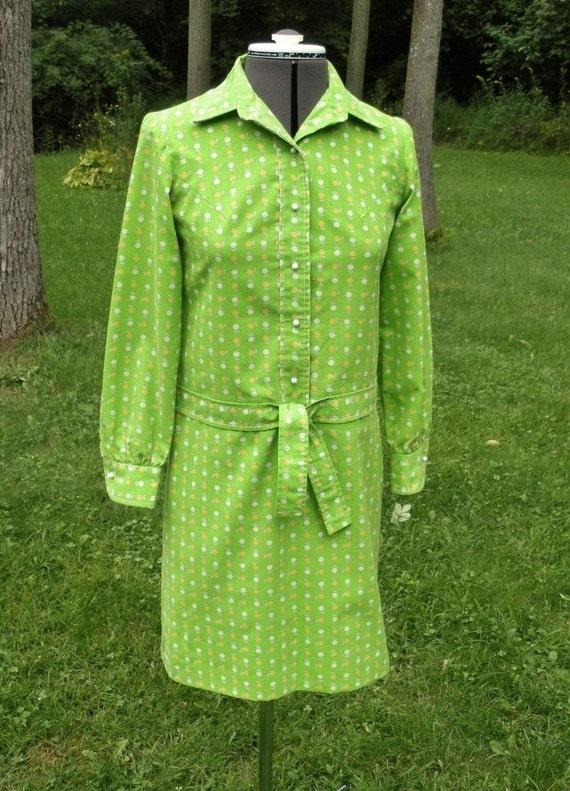 Vintage 1960s Green Mod Hip Hugger Dress - Corky C