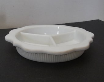 Vintage Milk Glass Sectioned Relish Dish
