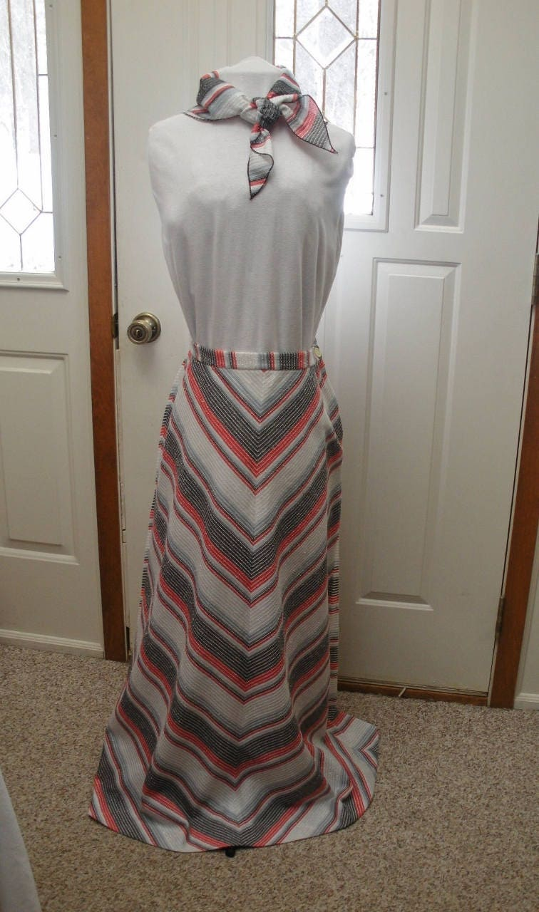 Vintage Scarf Styles -1920s to 1960s Vintage Metallic Chevron Striped Maxi Skirt With Matching Scarf $39.00 AT vintagedancer.com