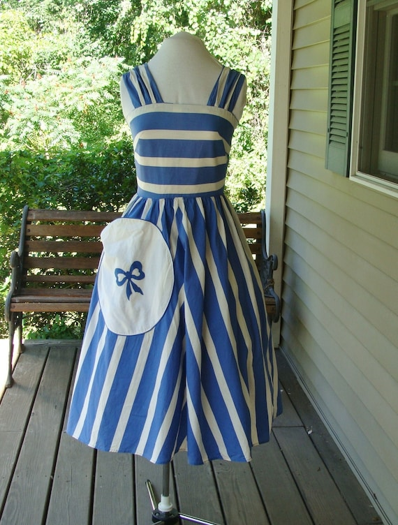 Vintage 1940s Blue & White Striped Sundress - Mary