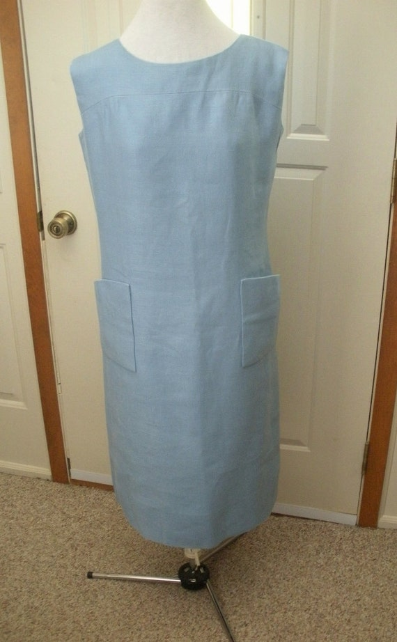 Vintage Designer Norman Norell Light Blue Sheath D