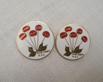 Vintage Pair Wayne County NY Enamel Pins