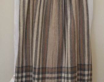 Vintage Brown & Gray Plaid Pleated Skirt