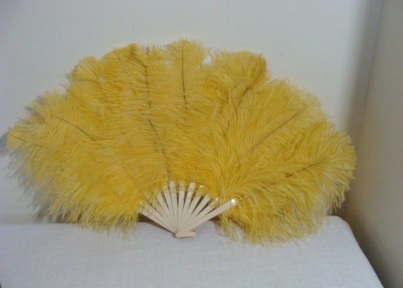 Antique Celluloid & Yellow Ostrich Feather Fan
