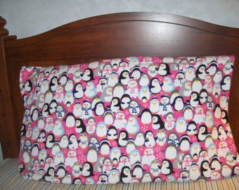 Penguins and Snowpeople Pillow Case