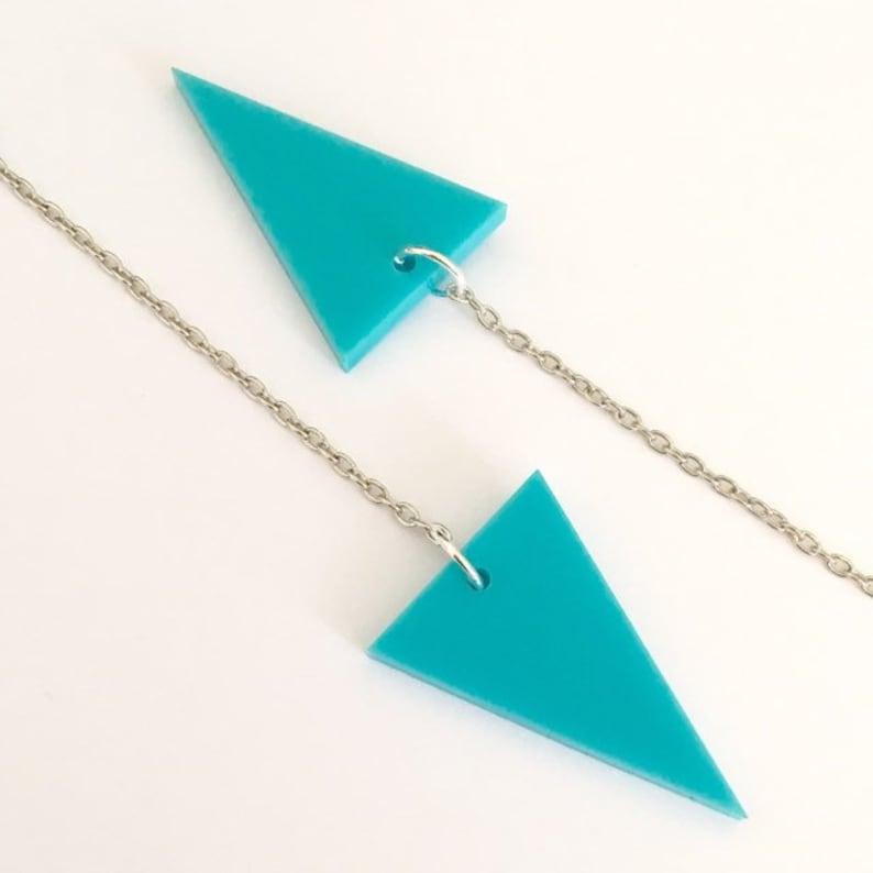 Triangle Shape Earrings, Shoulder Duster Long Earrings in Turquoise Blue  Acrylic Plastic, Geometric 80s Style Jewelry