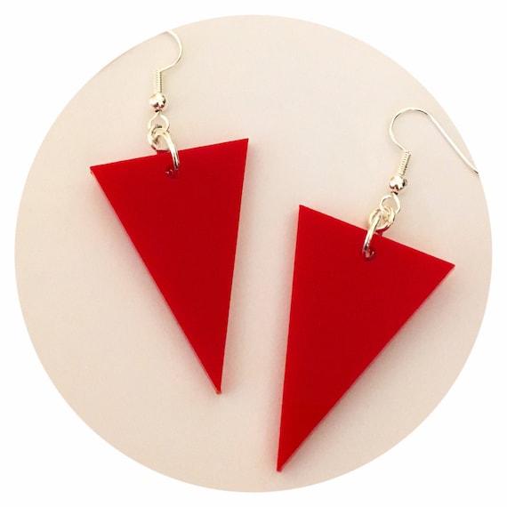 Red Circle Earrings Dangle Earrings Red Earrings Red Wooden Earrings Red Wood Earrings Geometric Earrings- Long Earrings