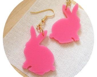 Rabbit Earrings, Animal Earrings, Bunny Rabbit Shape Jewelry, Gift for Her