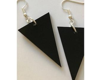 Geometric Triangle Earrings, Black Acrylic Plastic, Dangle Earrings, Gift for Friend