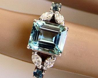 Aquamarine Engagement Ring with Diamonds 0f51498cbcbc