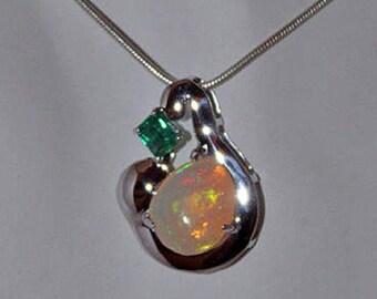 Columbian Emerald Handmade Pendant, Columbian Emerald, Opal Pendant, Organic Stone, Gemstone Pendant, Anniversary Gift, Gift for her