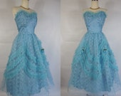 1950's Vintage Blue Lace and Tulle Prom Dress with Rosettes Cup Cake
