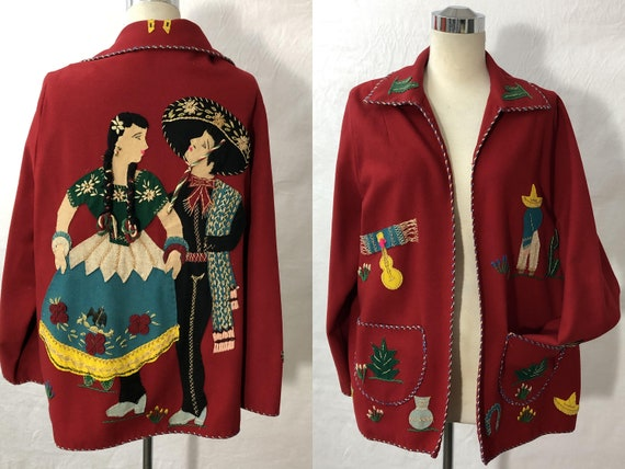 1940 Vintage Lopez Made in Mexico Wool Tourist Jac