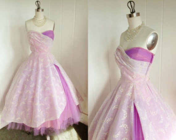1950s Vintage Lavender Tulle and Chiffon Prom Dres