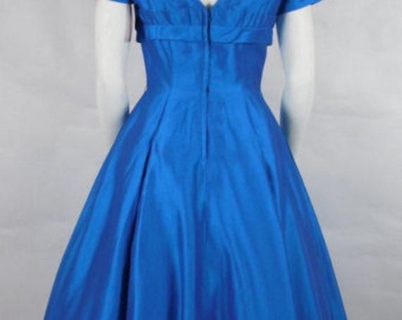 1950's Vintage Electric Blue Cocktail Party Dress… - image 4