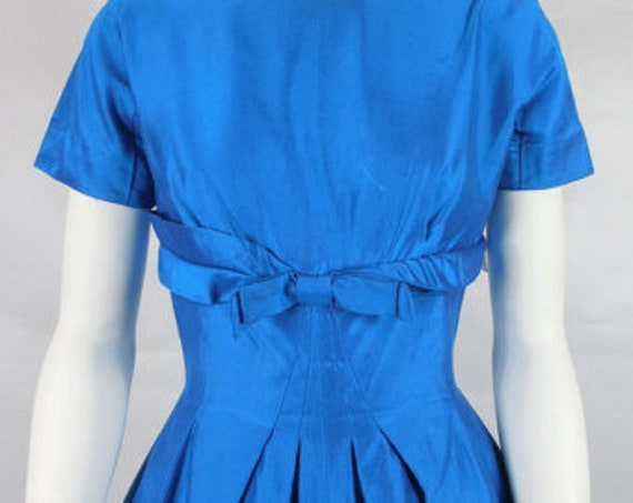 1950's Vintage Electric Blue Cocktail Party Dress… - image 2