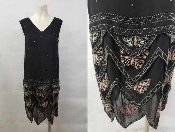 1920's Beautiful Black Crepe Evening Dress with Be