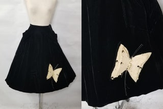 1950 Vintage Silk Velvet Skirt with Movable Butterfly Applique Perfect