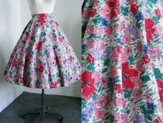 1950's Vintage Pink & Red Floral Circle Skirt